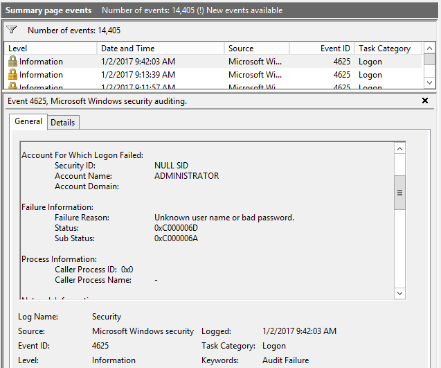 Event Viewer log of hack
